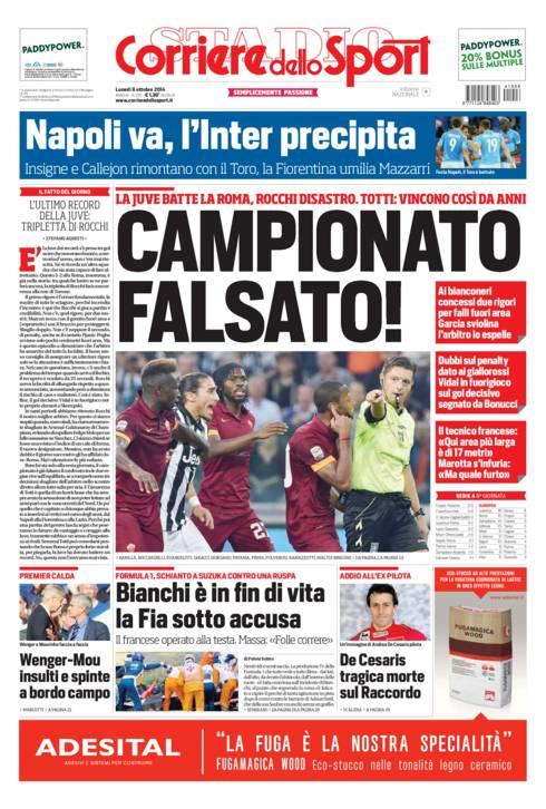 La prima pagina del Corriere dello Sport, dedicata all'arbitraggio di Rocchi in uno Juventus-Roma terminato per 3-2