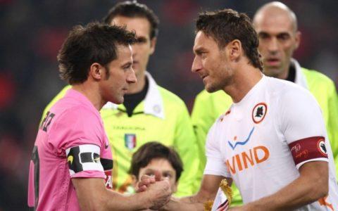 Del Piero e Totti, grandi protagonisti di molte sfide tra Juventus e Roma