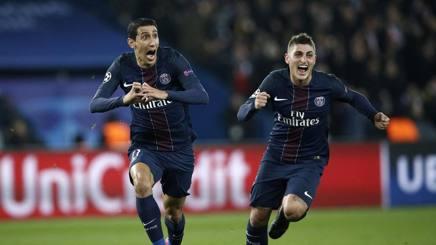 Verratti a Di Maria con la maglia del Paris Saint Germain
